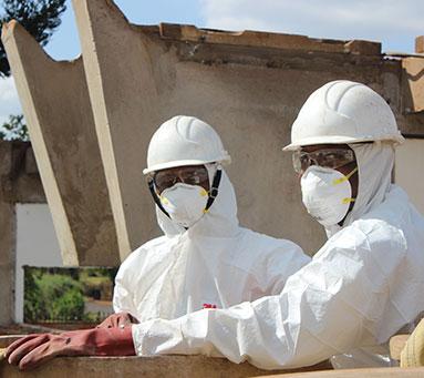 Men working asbestos removal