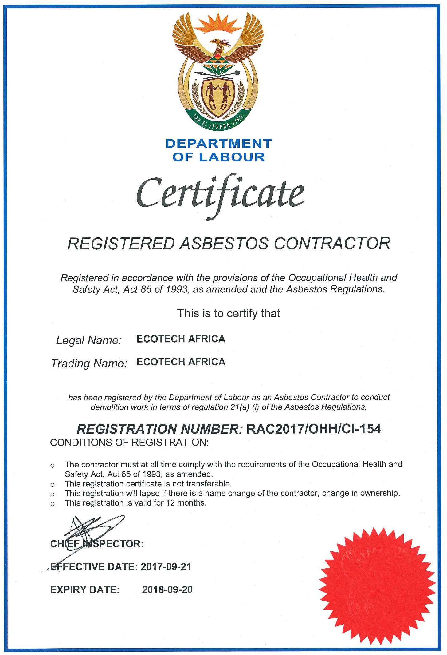 EcoTech asbestos certification